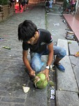 This was the coconut man, chopping those things open with a cleaver