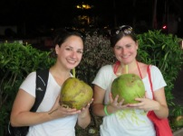Adrianna and Parker both felt the need to get some tasty coconut juice straight from the source