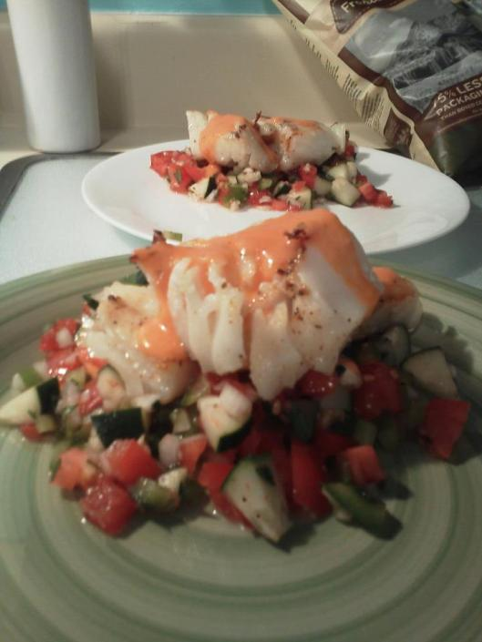 Previous fruits of our American labors (pan-seared cod and a gazpacho salad)