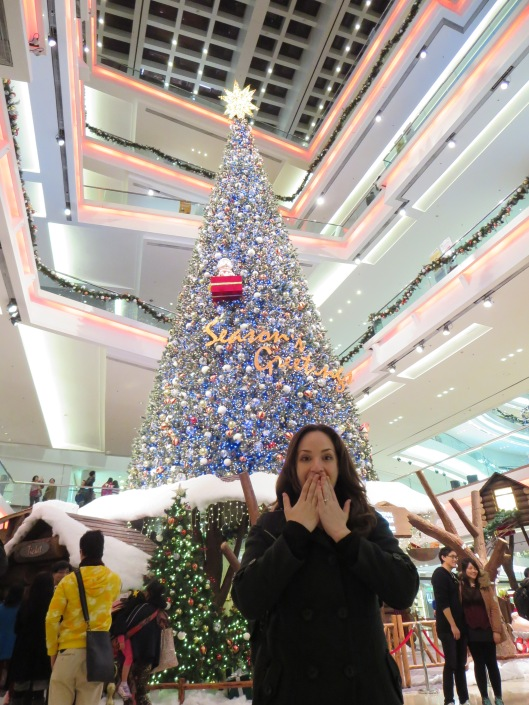 To exit the metro, we had to go through this mall with a giant Christmas tree. Adrianna was excited to see it.
