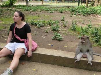 Adrianna felt at one with the monkeys.