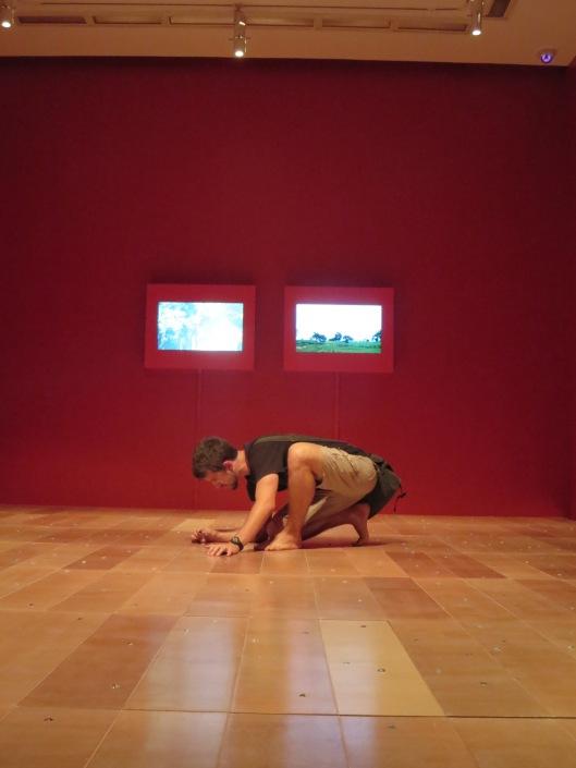 Spenser enjoying some modern art