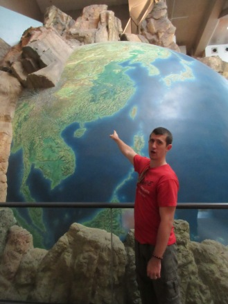 In the Hong Kong History Museum, there is a giant globe. Here is Hong Kong.